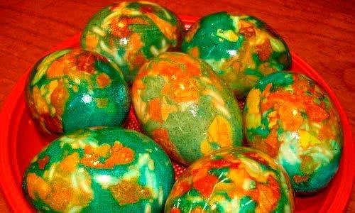 Мраморные яйца на Пасху (с зеленкой и без зеленки)