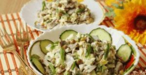 Блюда из куриных желудков - салат с рисом