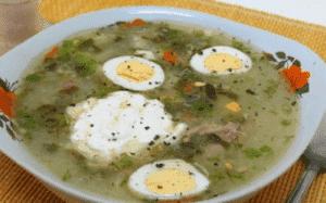 Блюда из желудков и сердечек куриных - суп с яйцом