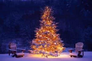 Красиво украсить ёлку можно с помощью подсветки