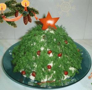 Оформление салата к Новому году в виде ёлки