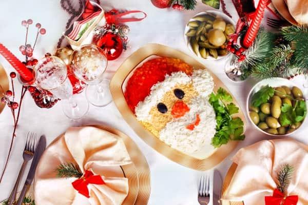 Украшение салата: фото к Новому году