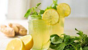 Лимонная вода с имбирем - отличное питье от простуды