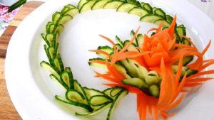 Как красиво нарезать овощи на стол: фото огурцов и моркови
