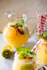 Домашний лимонад из апельсинов, лимонов, киви и клубники